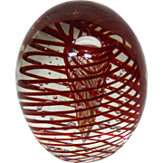 Red Swirling Ribbons And Bubbles -Exquisite Large Art Glass Paperweight -