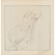 "PAUL CESAR HELLEU (French, 1859-1927) - Signed and Inscribed DRYPOINT Etching  ""Portrait of Reclining Woman"""