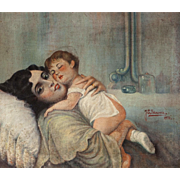 "J. E. Bancara (Spanish, 20th Century) - Original Oil Signed/Dated ""Maternidad"" (Motherhood) - Circa 1931"