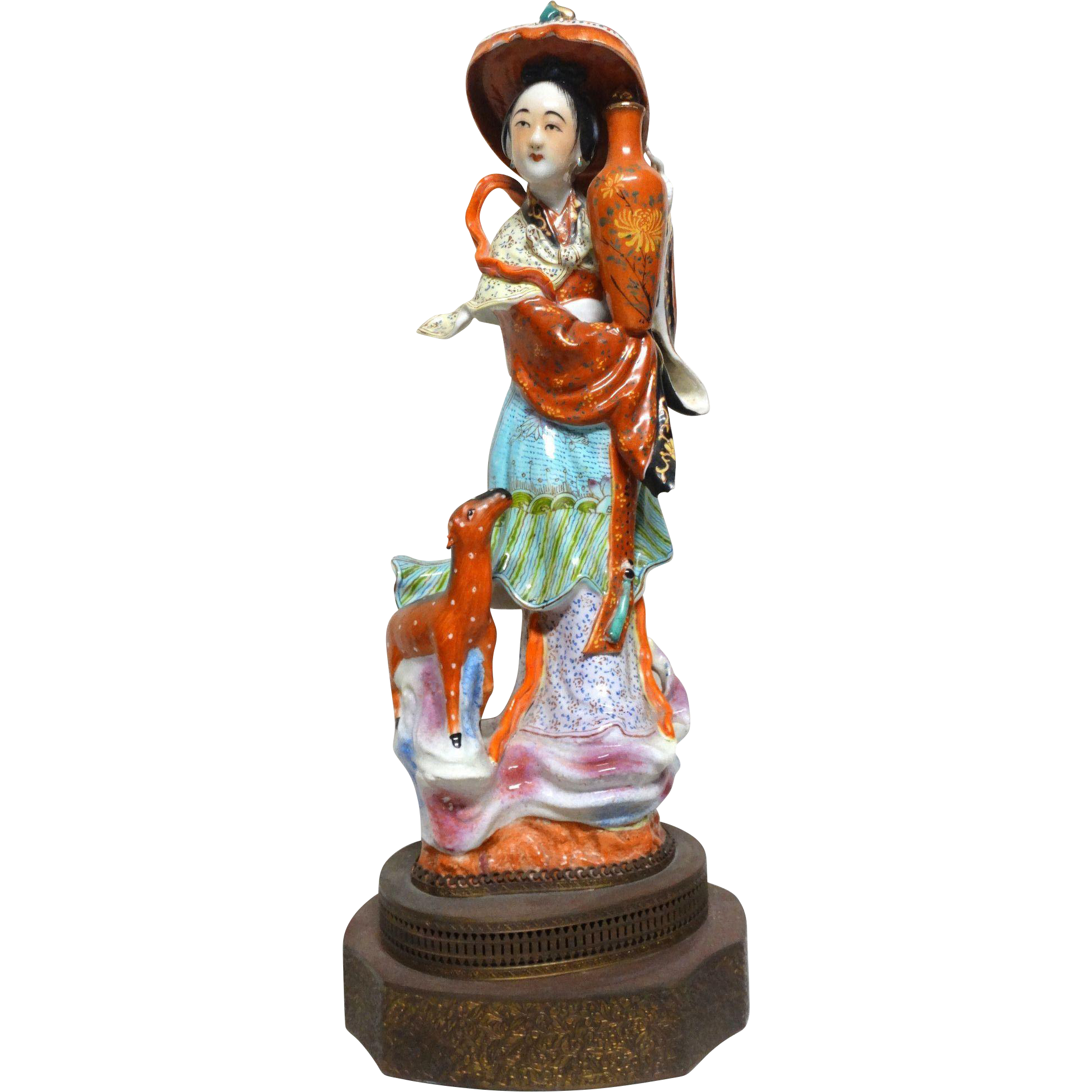 Large Chinese Porcelain Of A Goddess of Longevity,  Holding A Vase, With A Deer Next To Her