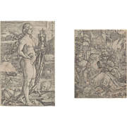"HEINRICH ALDEGREVER (German 1502 - 1555) - TWO WORKS -  ""Momento Mori"" and ""Lot and his Daughters"" (two works)"