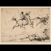 """EDMUND BLAMPIED (British, 1886 - 1966) - Signed Etching """"Splashing Through The Surf"""""""