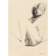 "EMILIO GRECO (Italian 1913-1995) Original Signed Ink On Paper ""Sleeping Nude"" Signed/Dated 1962"