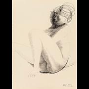 "EMILIO GRECO (Italian 1913-1995) Original Signed Ink On Paper ""Sleeping Nude"" Signed/Dated 1962"