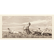 """MAX KLINGER (German 1857-1920) - """"Hunting Centaurs"""" Etching By Very Well Listed and Collected Important Artist"""