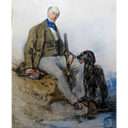 "JOHN FREDERICK TAYLOR (British 1802-1889) 19th Century Original Signed Watercolor ""Resting Gentleman With His Friend and Companion"""