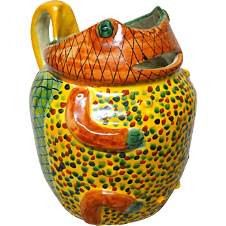 Big, Bold and Colorful Frog Pottery Pitcher