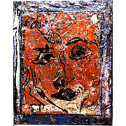 "ALEXANDER GORE (Russian/American 20th Century) ""The Face As A Museum Of Time""  Original Abstract Impasto Oil Painting Signed, With Artist's COA -"