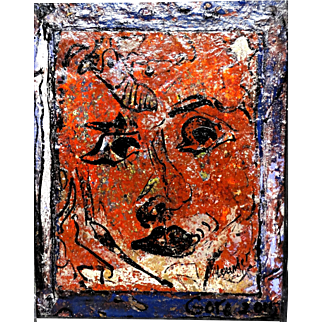 """ALEXANDER GORE (Russian/American 20th Century) """"The Face As A Museum Of Time""""  Original Abstract Impasto Oil Painting Signed, With Artist's COA -"""