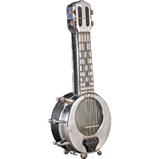 "Musical Chromed Banjo Decanter - Plays ""How Dry I Am"" - mid 20th Century Japanese Export"