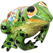 Beautifully Decorated And Absolutely Adorable Glazed Pottery Frog From Russia