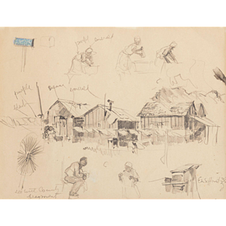 """EDWARD MUEGGE """"BUCK"""" SCHIWETZ (American, 1898-1984) ORIGINAL Signed/Dated Pencil and Colored Pencil on Paper """"DeWitt County Fragment"""" - 1936."""