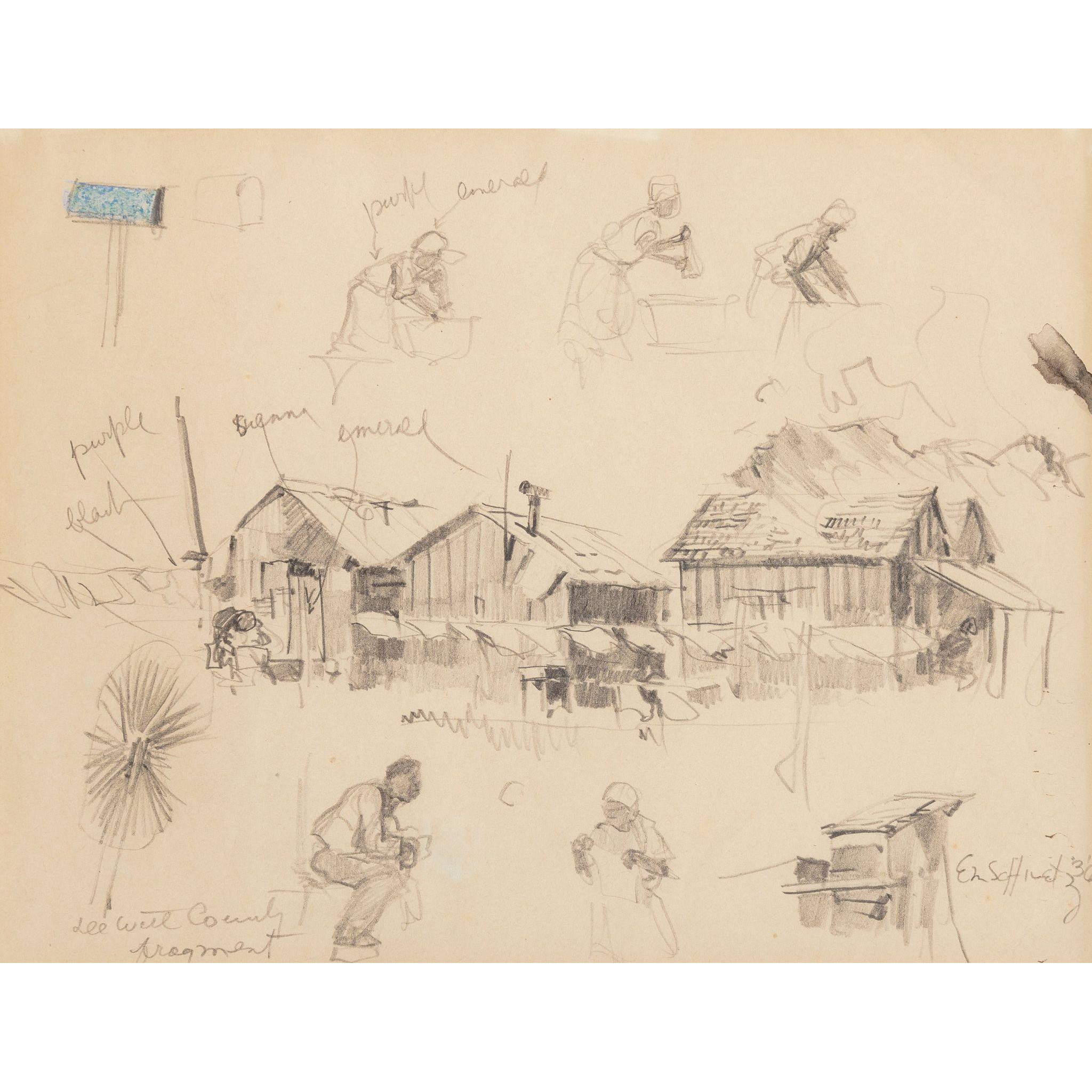 "EDWARD MUEGGE ""BUCK"" SCHIWETZ (American, 1898-1984) ORIGINAL Signed/Dated Pencil and Colored Pencil on Paper ""DeWitt County Fragment"" - 1936."