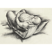 "IVER ROSE (American, 1899 - 1972) -Original Signed Charcoal On Paper ""The American Man""  - WPA Artist's Social Statement"