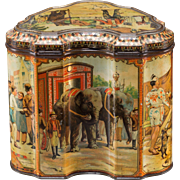 "Antique Biscuit Tin, Rare Circus Themed, by Huntley & Palmers, ""The Showman"" - c 1893"