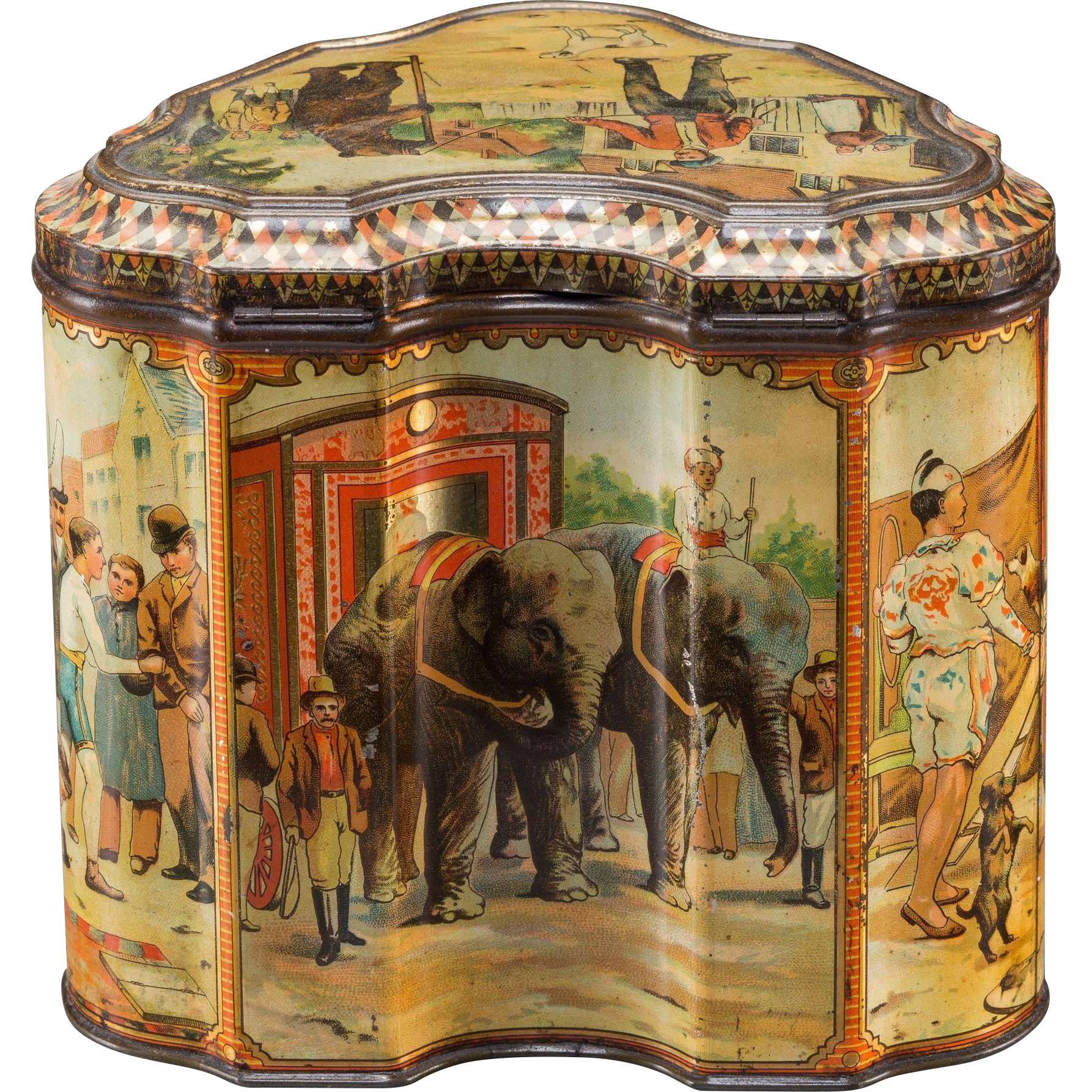 """Antique Biscuit Tin, Rare Circus Themed, by Huntley & Palmers, """"The Showman"""" - c 1893"""