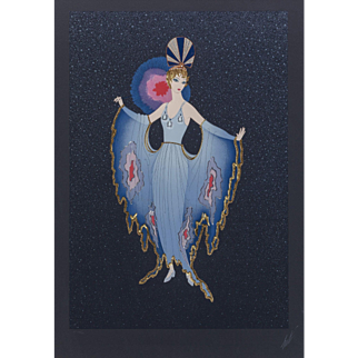 "ERTE (Romain de Tirtoff ) (Russian/French 1892- 1990) Closed Limited Edition, ""Twilight"" Signed and Numbered, c. 1987, Embossed Screenprint With Foil Stamping."