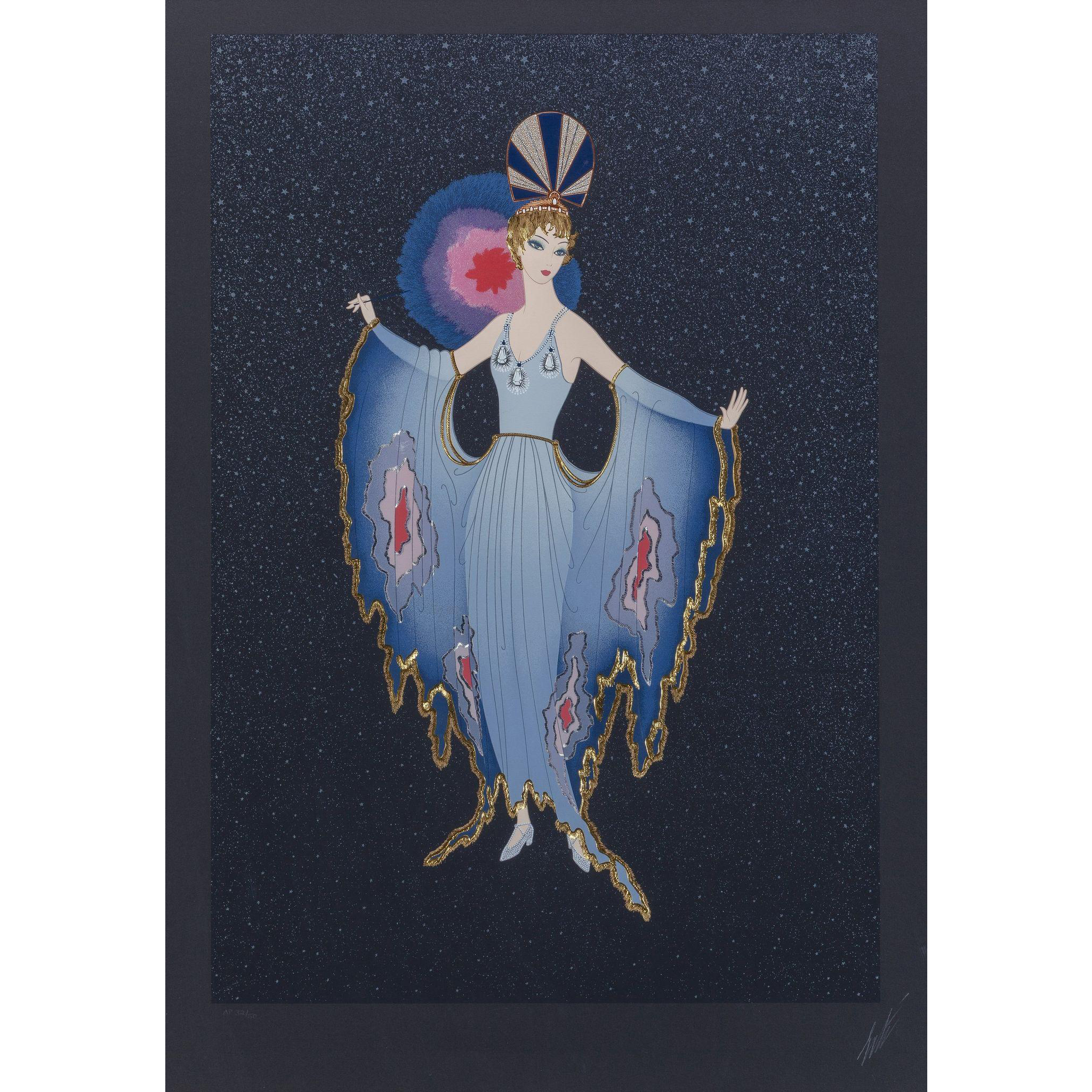 """ERTE (Romain de Tirtoff ) (Russian/French 1892- 1990) Closed Limited Edition, """"Twilight"""" Signed and Numbered, c. 1987, Embossed Screenprint With Foil Stamping."""