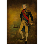 "Hand-Colored Etching of ""The Right Hon Lord Nelson K. B. Vice Admiral Of The Blue Duke of Bronti"" in an Antique Mahogany Frame.  19th Century."