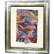 "ALEXANDER GORE (Russian/American 20th Century) ""The Rose As A Condition Of An Island""  Original Abstract Impasto Mixed Media Painting Signed, With Artist's COA -"