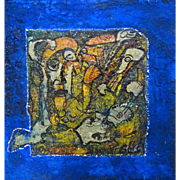 "ALEXANDER GORE (Russian/American 20th Century) ""The Tale Is For Follow Up""  Original Abstract Impasto Oil and Mixed Media Painting Signed, With Artist's COA -"