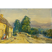 "JOHN FREDERICK HERRING THE YOUNGER,  (British 1815-1907) Original Signed/Dated Watercolor ""Village Scene"" - c 1840"