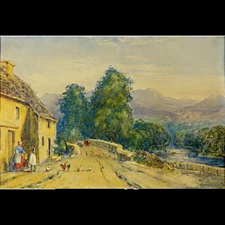 "JOHN FREDERICK HERRING THE YOUNGER,  (British 1815-1907) Original Signed/Dated Watercolor ""Village Scene"" - c 1840"