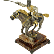 "GIUSEPPE VASARI (Italian, 20th Century) - Silvered and Gilt Bronze Sculpture ""The Cossack"" On Onyx Base; Signed and Numbered Limited Edition."
