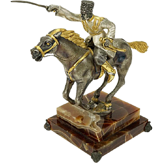 """GIUSEPPE VASARI (Italian, 20th Century) - Silvered and Gilt Bronze Sculpture """"The Cossack"""" On Onyx Base; Signed and Numbered Limited Edition."""