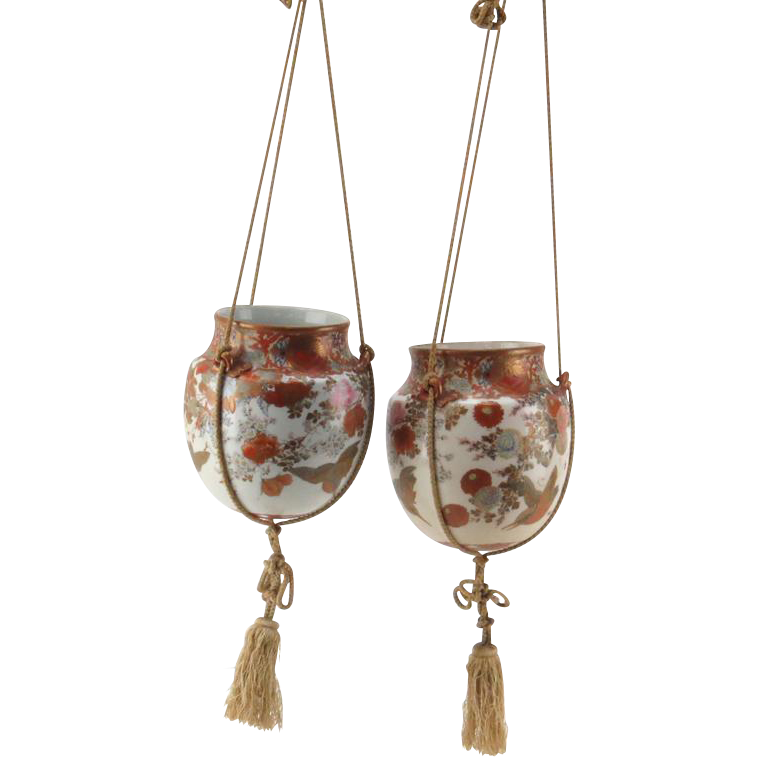 PAIR of Meiji Period (19th Century) Kutani Hanging Planters, With Birds, Exotic Flowers, Gilt Tracing - Exquisite!