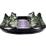 "LALIQUE France ""Lierre"" Crystal  Bowl With Green Tinted Leaves - Signed - Elegant and Beautiful!"
