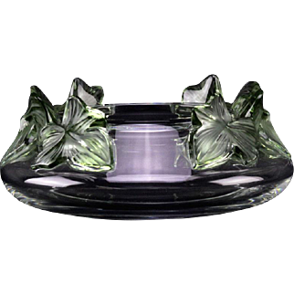 """LALIQUE France """"Lierre"""" Crystal  Bowl With Green Tinted Leaves - Signed - Elegant and Beautiful!"""