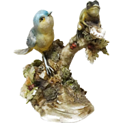 "Borsato - Multi-Figural Porcelain Sculpture ""Blue Bird and Frog"""