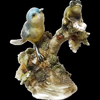 "Borsato - Multi-Figural Porcelain Sculpture ""Blue Bird and Frog"""