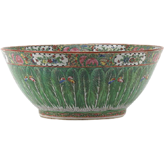 """19th Century Chinese Rose Medallion Export Porcelain Punch Bowl """"Tobacco Leaf"""" (Butterflies and Leaves Motif)"""