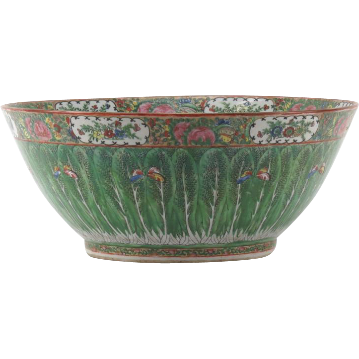 "19th Century Chinese Rose Medallion Export Porcelain Punch Bowl ""Tobacco Leaf"" (Butterflies and Leaves Motif)"