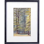 "19th Century British Original Watercolor ""In Bushey Park"" - Dated 1889"