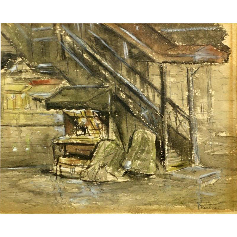 "Signed Original Watercolor ""City Scene"" - 20th Century"