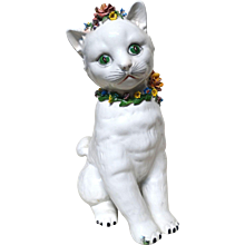 ITALIAN Precious Porcelain Cat,  13 inches Tall, With Flower Collar and Flower Hat