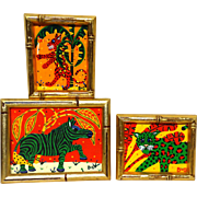 BARRY VAN GERBIG (American, 20th century) Grouping of Three Signed Original Acrylic On Canvas Zebra, Green Jungle Cat, Leopard