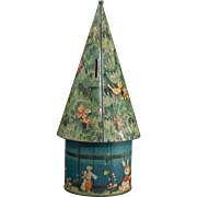 Fairy House-Form Biscuit Tin and Money Box -  Lucie Attwell's Fairy Tree, circa 1935 by William Crawford & Sons, Complete 2 Pieces, Very Good Vintage Condition