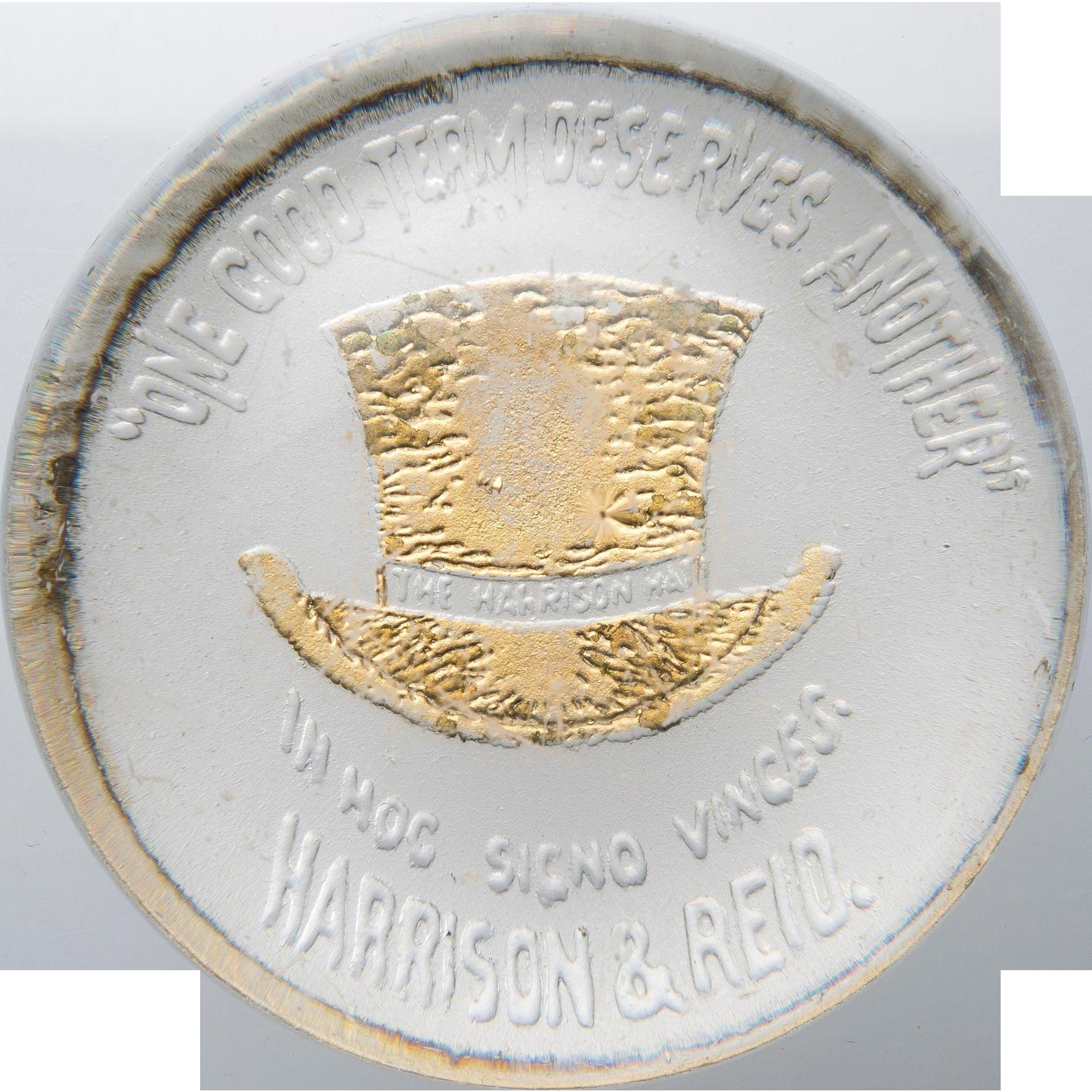 "Historical ""Harrison Hat""  - Benjamin Harrison Glass Grandfather's Hat Paperweight"