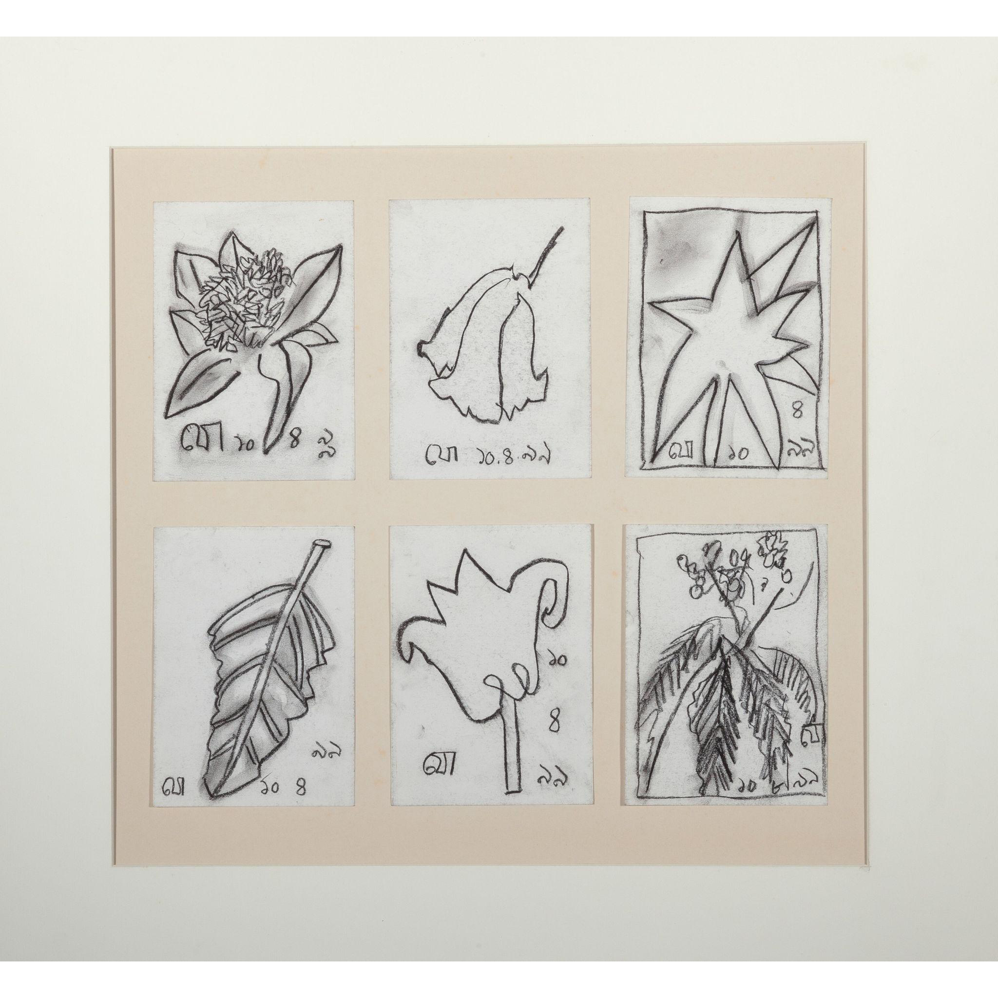 JOGEN CHOWDHURY (Indian b. 1939) - Set of Six Original Botanlical Drawings Signed and Dated,  With Letters Of Authenticity - His work has sold for excess of $610,000.00.