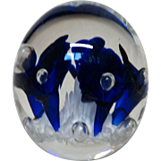 JOE RICE Signed Art Glass Paperweight - Lovely Blue Trumpet Flowers