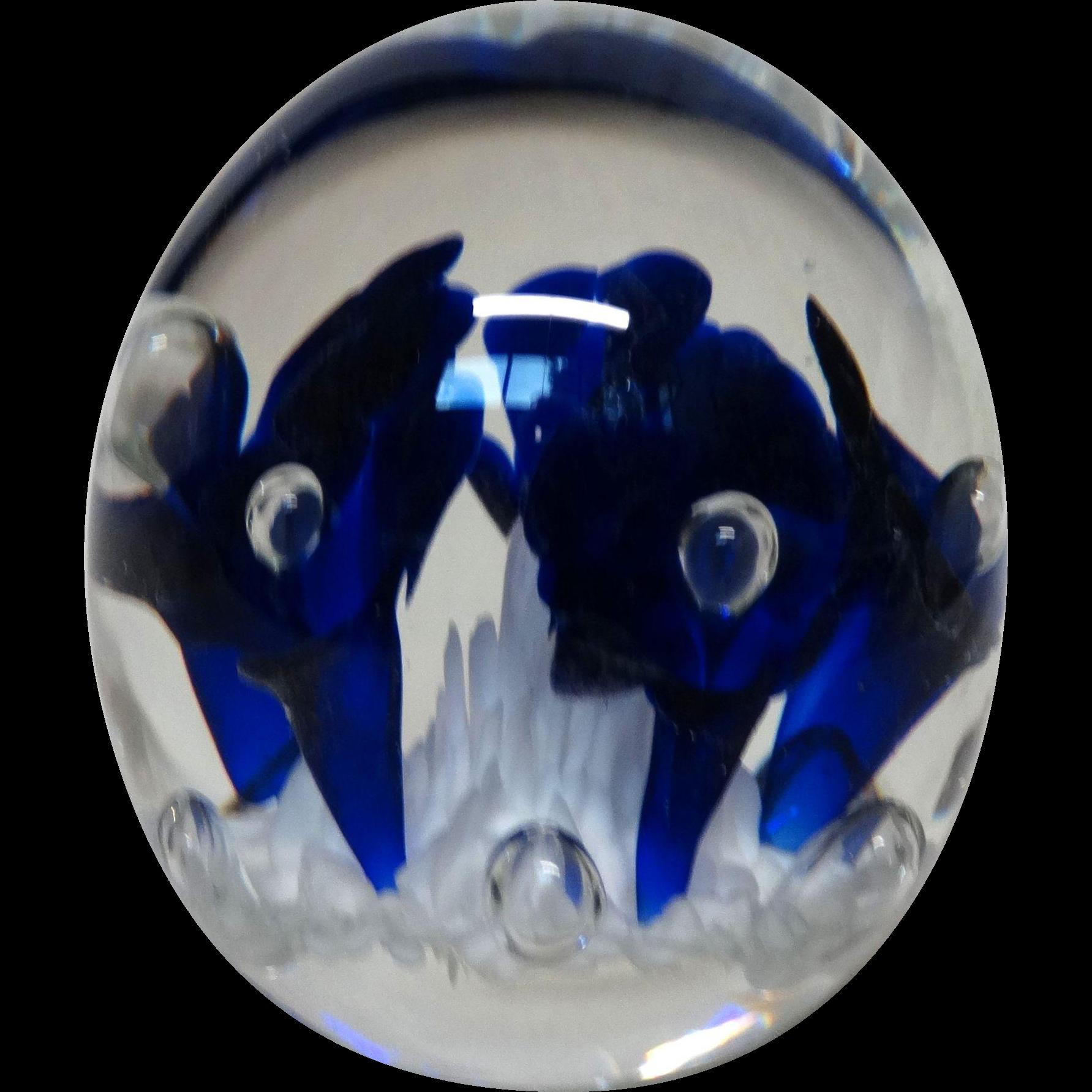 JOE RICE Signed Art Glass Paperweight - Lovely Blue Trumpet Flowers
