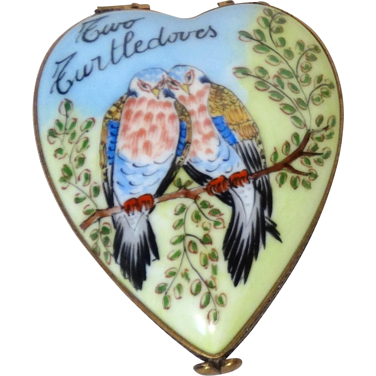 Limoges France Authentic Signed Petit Main Hand-Painted Trinket Box or Dresser Box Two Turtledoves