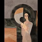 "ANDRE MINAUX (French, 1923-1986) Original Signed Watercolor ""Femme au Miroir"""