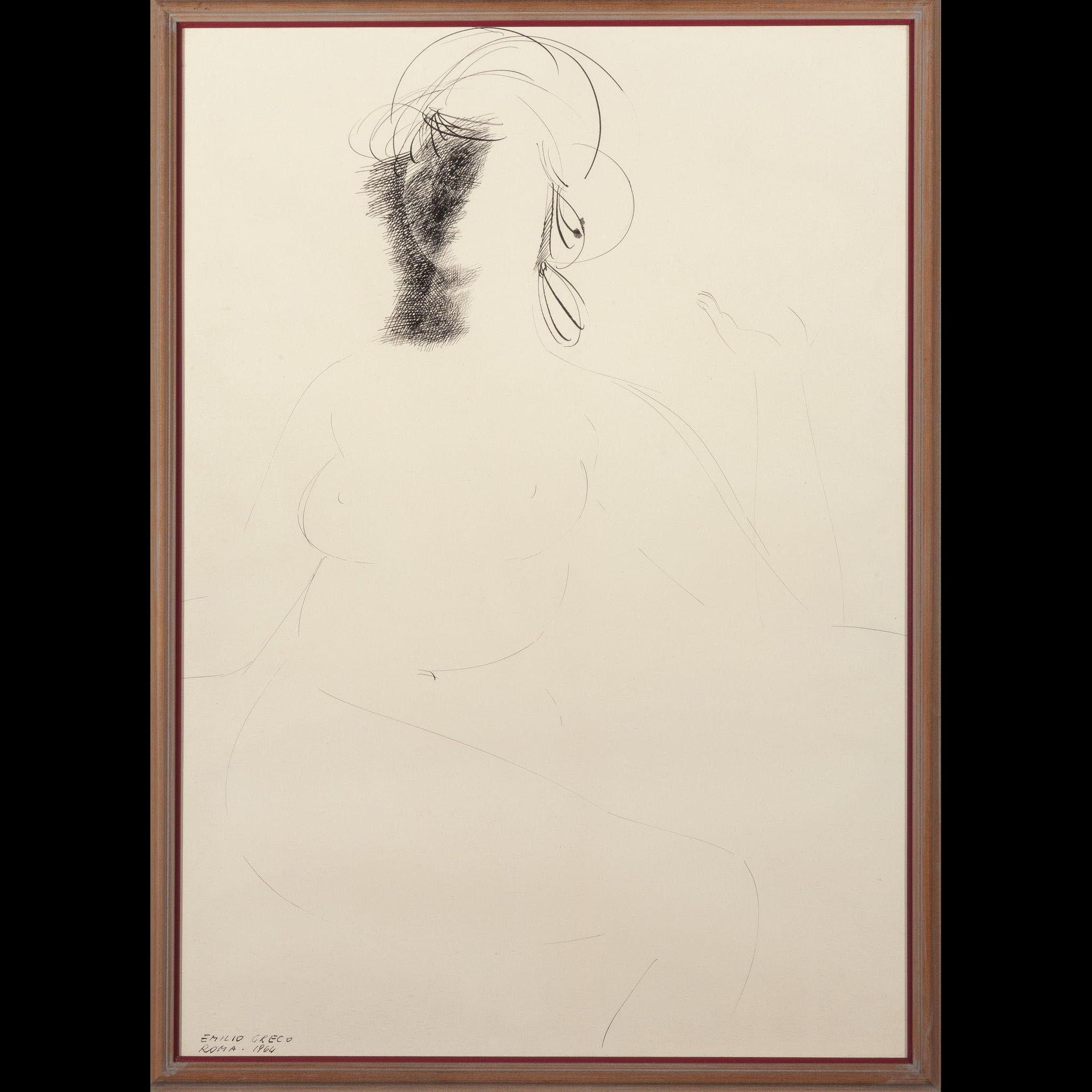 """EMILIO GRECO (Italian, 1913-1995) Original Signed Ink On Paper """"Nude 1966"""""""