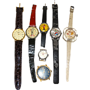 Collection of Seven Watches, Character Watches (Charlie Brown, Spiro Agnew, Cinderella,The Bird, Goofy), A Timex, and a Dumont