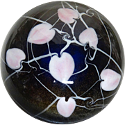 "STEVEN LUNBERG Personally Signed  Marvelous Magnum Paperweight - ""Hearts Within"" A Sapphire Paperweight interlaced With Trailing Vines and Pink to Ivory Heart Shaped Petals - With Personally Signed COA from Steven Lundberg"